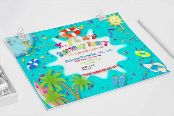 free birthday pool party invitation