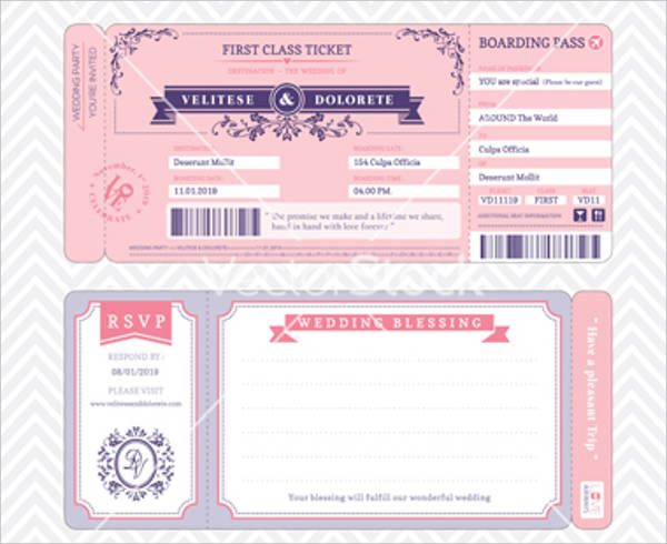 free boarding pass wedding invitation template