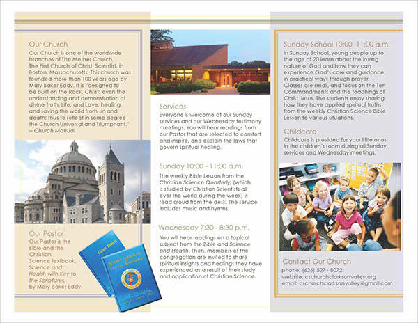 free church tri fold brochure