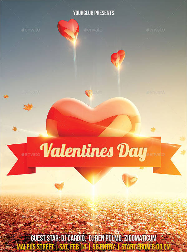 free valentines day club flyer templates