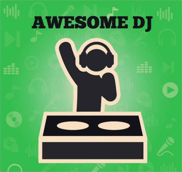 free vector awesome dj logo