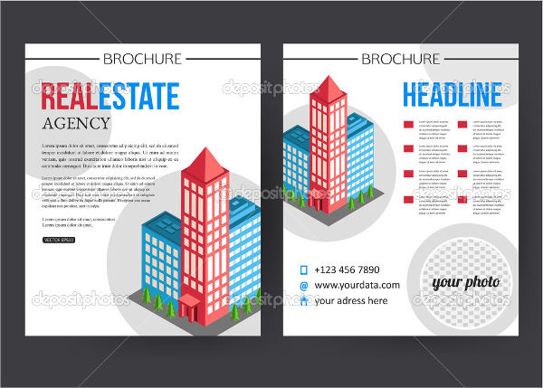 free vector flat buildings real estate brochure