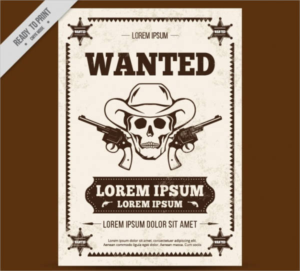 free vector western poster with sketch
