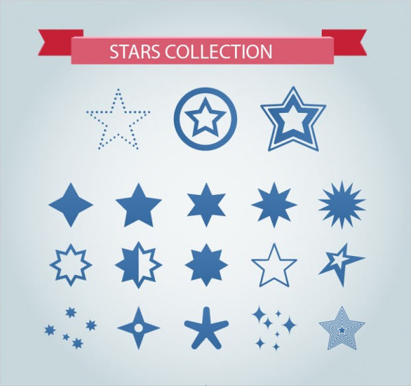 free vectors blue stars collection