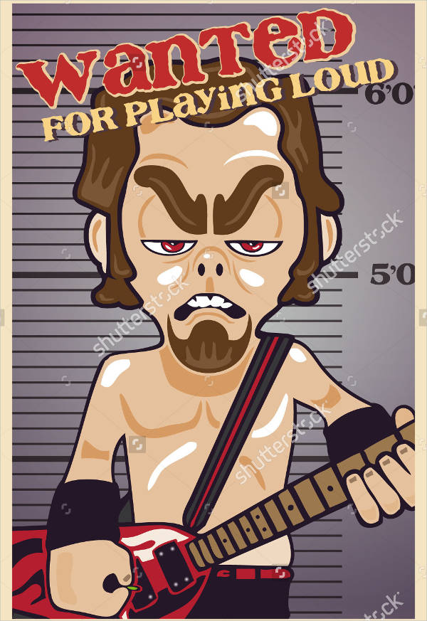 funny guitar player wanted poster