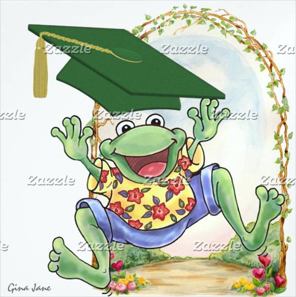 funny graduation frog inviation