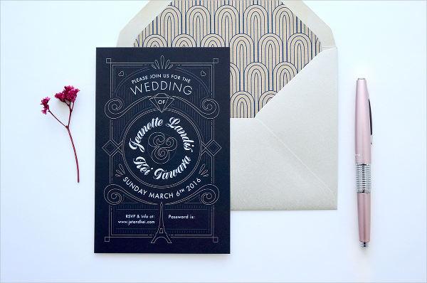 geometric art deco wedding invitation
