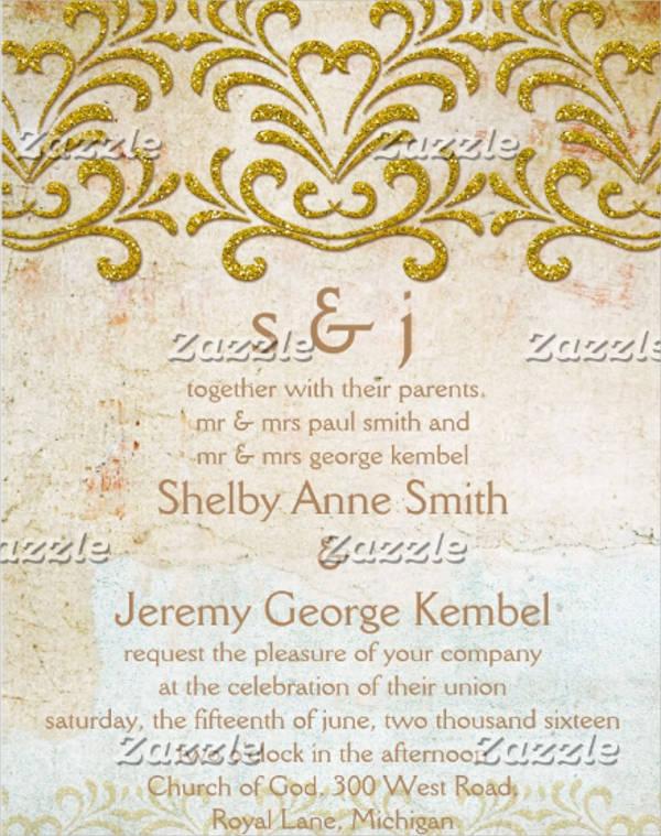 glitter border wedding invitation