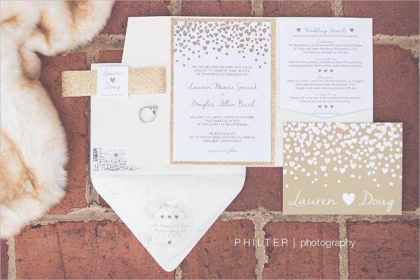glitter gold wedding invitation