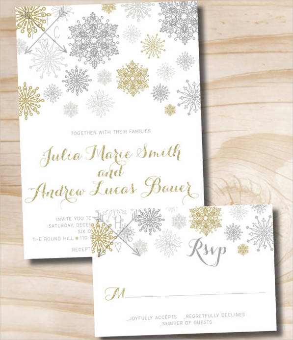 glitter snowflake wedding invitation