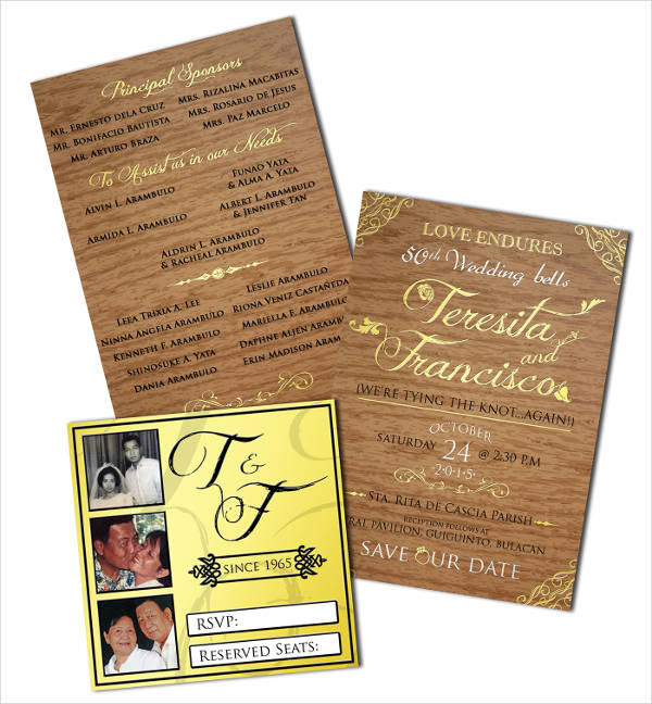 golden anniversary wedding invitation1