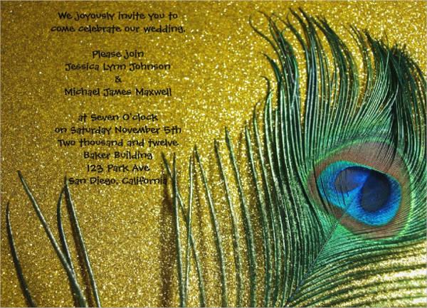 golden yellow wedding invitation