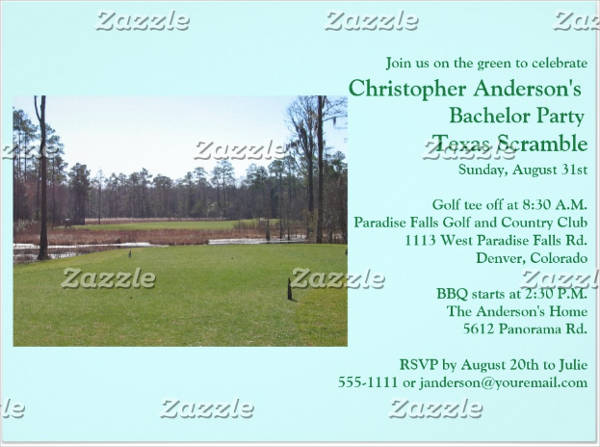 golf bachelor party event invitation