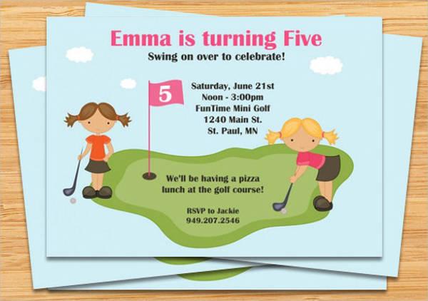 golf birthday event invitation