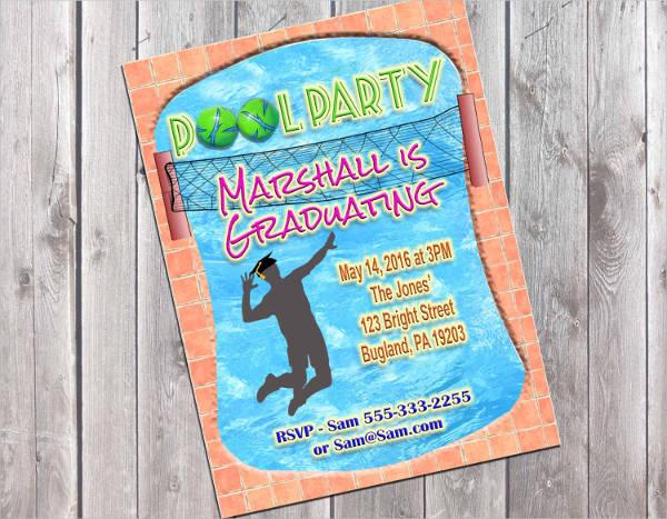 graduation pool party invitation template