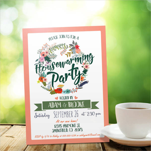 green housewarming invitation