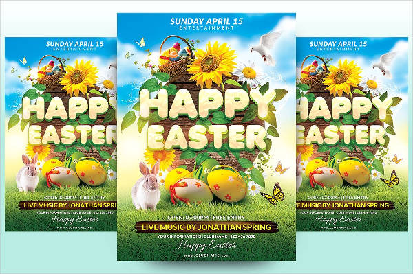 happy easter egg event flyer