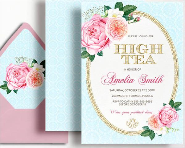 high tea party invitation templates