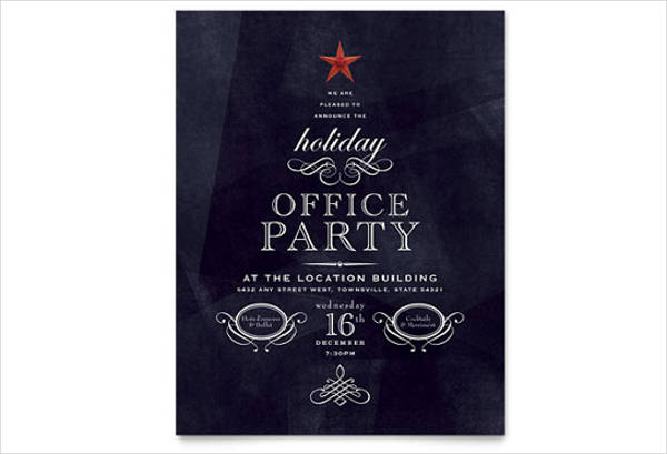 holiday office party flyer templates