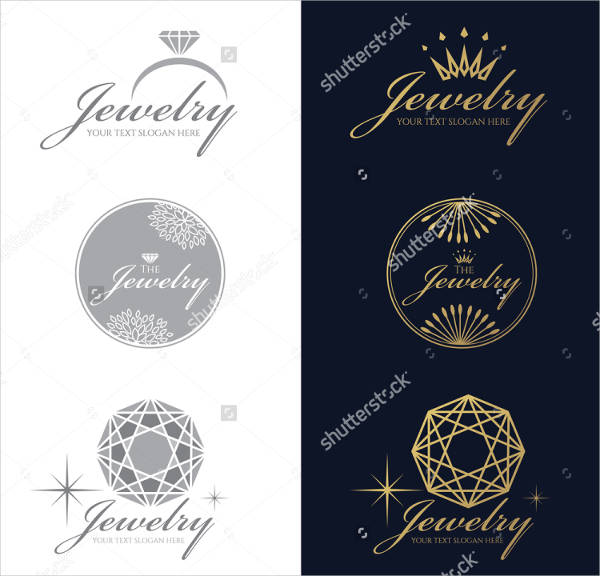 jewelry logo ring crown diamond octagon vector set