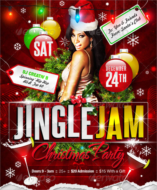 jingle jam christmas party flyer templates