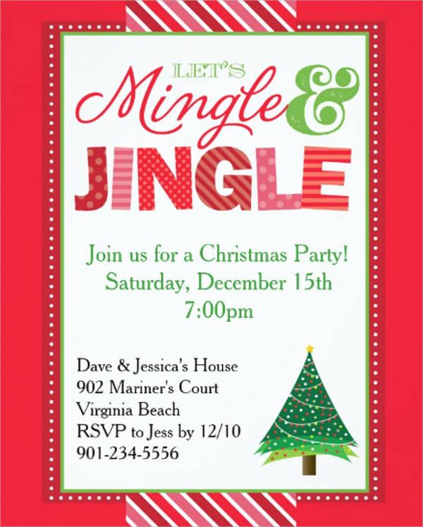 jingle and mingle christmas party invitation