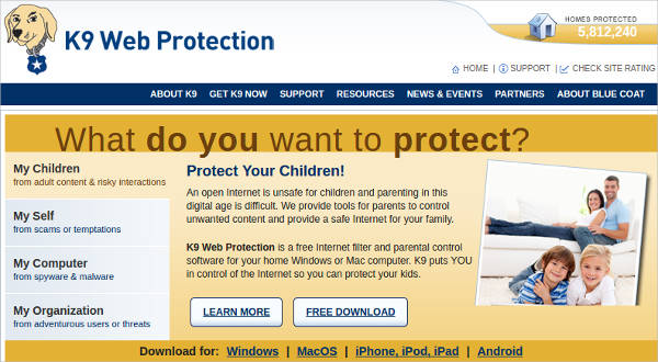 k9 web protection most popular software