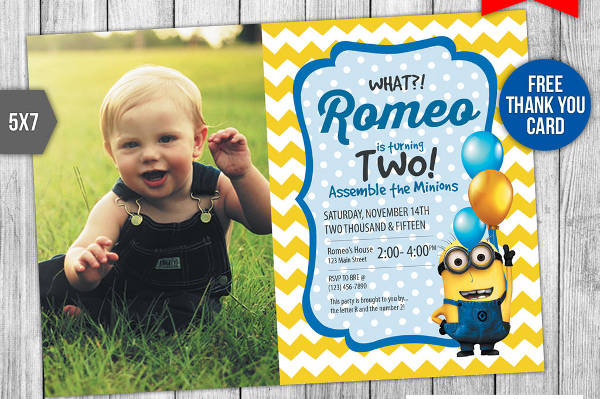 kid birthday psd invitation