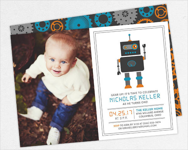 kid photo birthday invitation