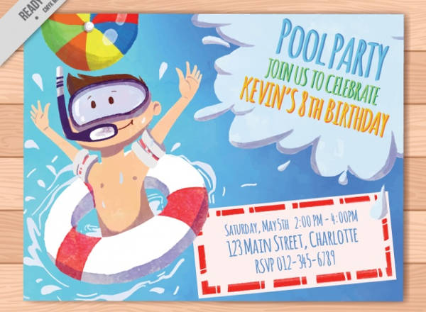 kid pool birthday invitation