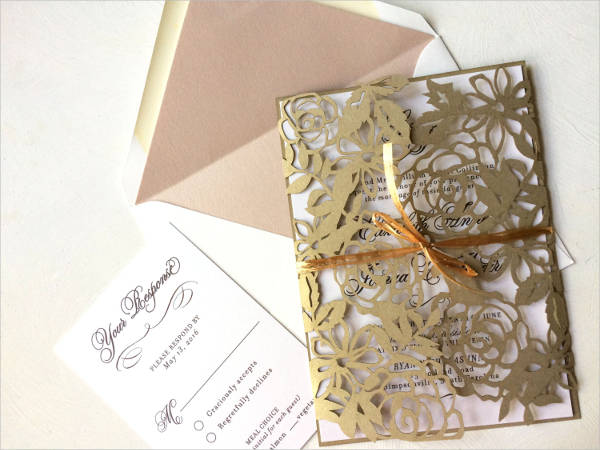 lace laser cut wedding invitation