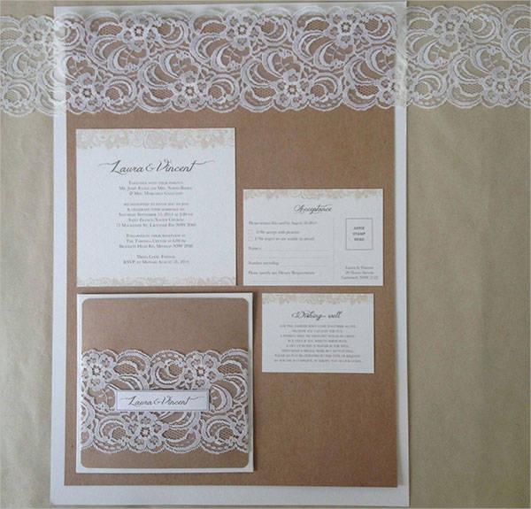 lace rustic wedding invitation