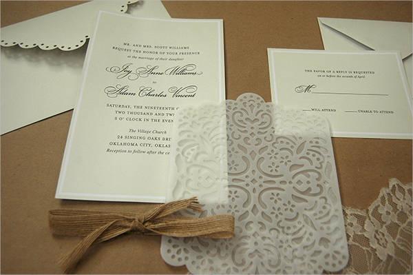 lace and burlap wedding invitation