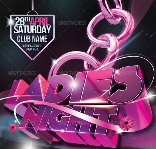 ladies night club event flyer