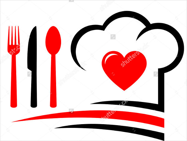 logo with a heart and a chef hat