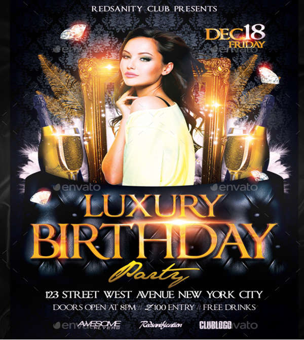 luxury birthday flyer
