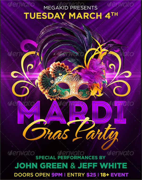 mardi gras party flyer2