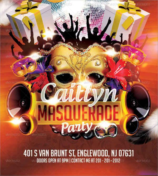 masquerade birthday party flyer