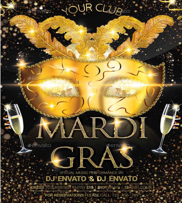 masquerade carnival party flyer