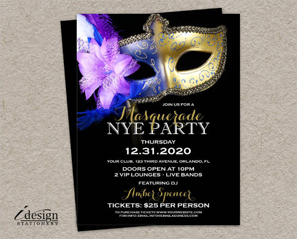 masquerade new years eve party flyer
