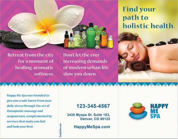 massage tri fold brochure template