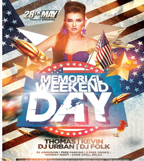 memorial day club party flyer