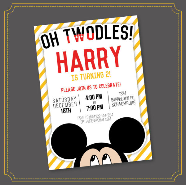 mickey mouse printable invitation template