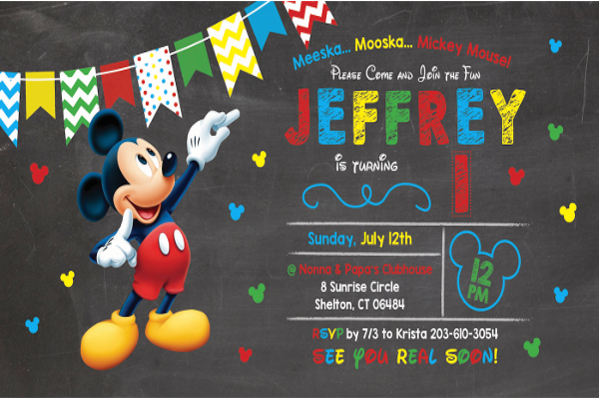 mickey mouse themed invitation template