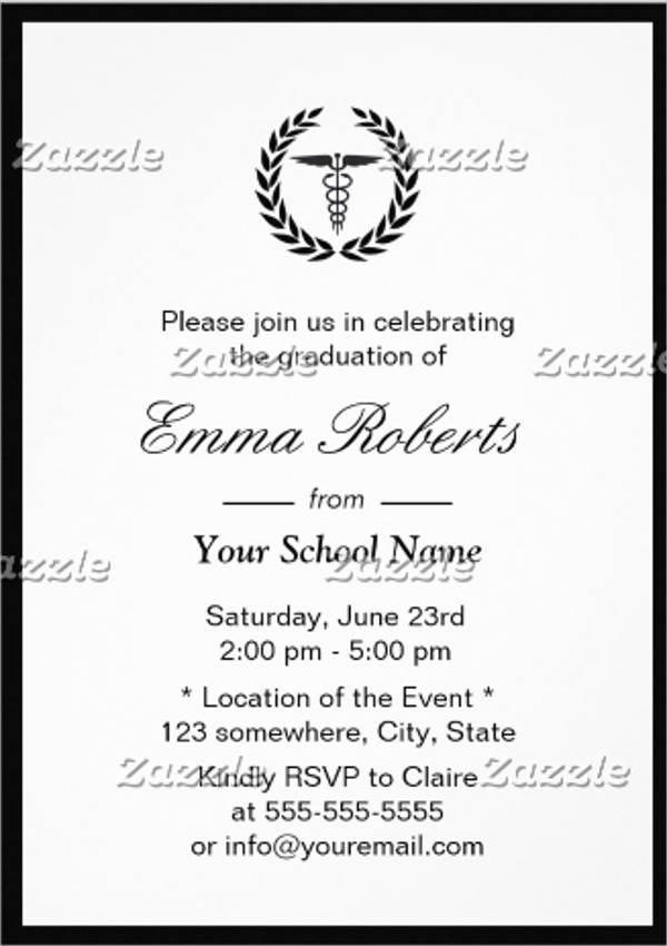minimal border nursing graduation invitation