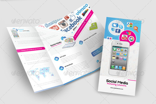 mobile marketing trifold brochure template