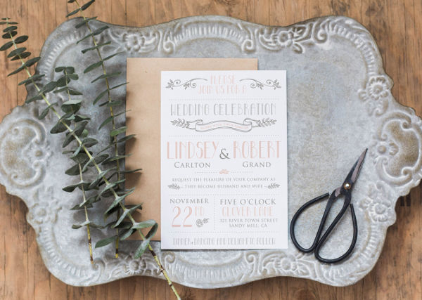 modern vintage wedding invitation