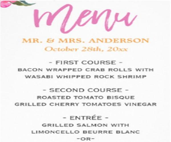 modern wedding menu template