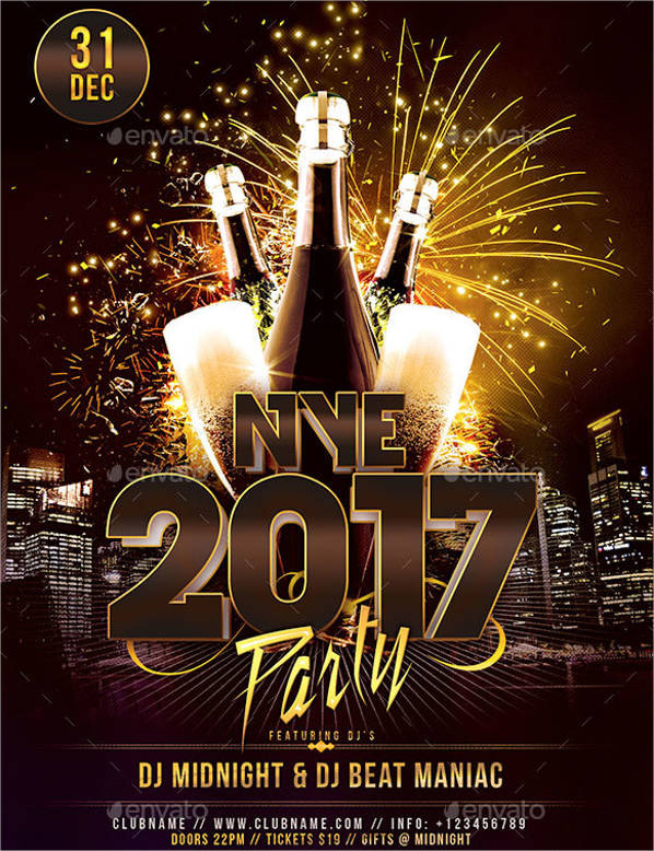 new year eve night party flyer template