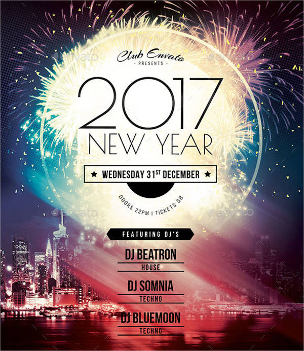 new year party flyer template photoshop in psd